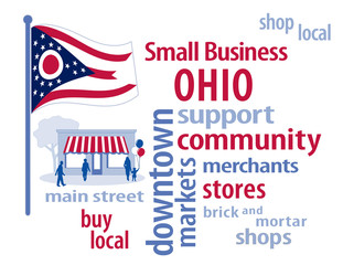 Ohio Flag, shop small business stores, Main Street, word art
