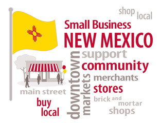 New Mexico Flag, shop small business stores Main Street word art
