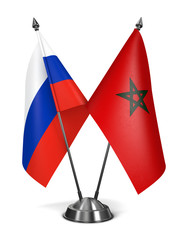 Russia and Morocco - Miniature Flags.