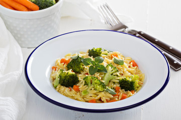 Pasta with broccoli and carrot