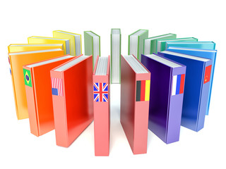 Books with the flags of the countries