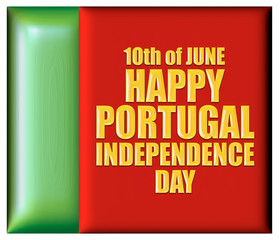 Portugal independence Day with flag in 3d