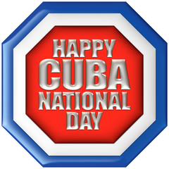 Cuba, Happy National Day with flag in 3d