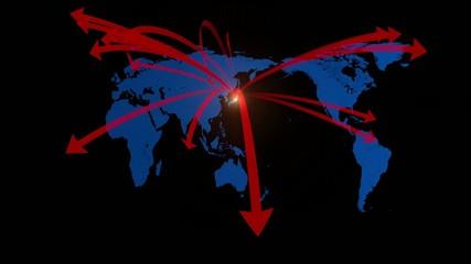 世界地図とネットワーク