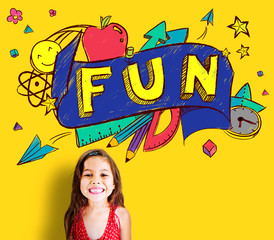Fun Joy Smiley Stationery Education Concept