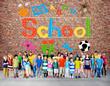 Kids Imagination Handwriting School Learning Concept