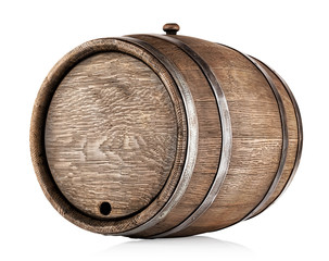 Old round oak barrel
