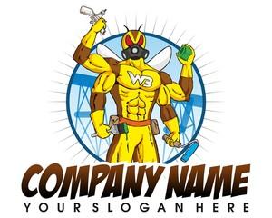 pesticides bug man male hero charecter logo vector