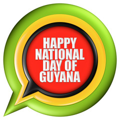 Guyana, Happy National Day with flag in 3d