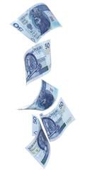 Spadające banknoty 50 PLN