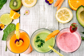delicious smoothie and juice with fresh fruit and vegetables