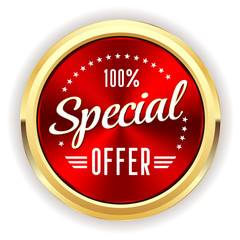 Red special offer badge with gold border
