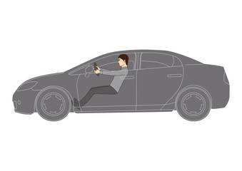 A realistic illustration of a male driver and a vehicle