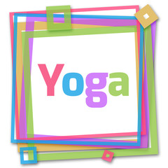 Yoga Text In Colorful Frame