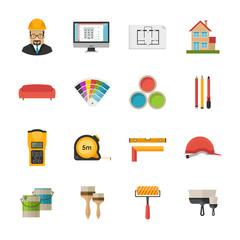 Architecture, Interior design and repairs vector flat desing ico