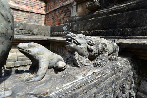 Poster Carved stone animals on a public fountain in Kathmandu, Nepal
