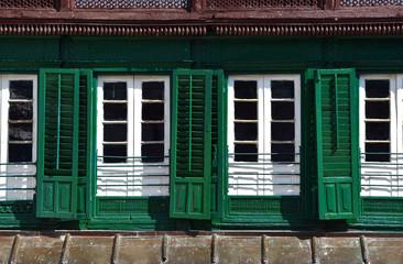 Green shutters in the Durbar square, Kathmandu, Nepal