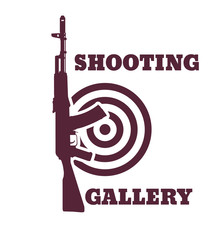 Shooting Gallery emblem with assault rifle, vector, eps10