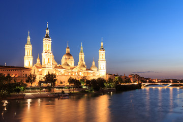 Great evening view of the Pilar Cathedral in Zaragoza