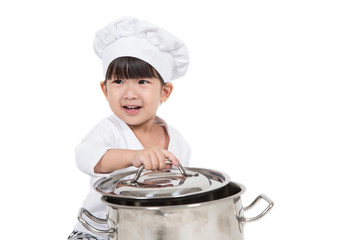 cute happy little baby cooking