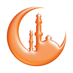 3D illustration of moon with mosque