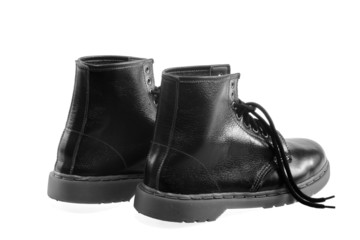 The high black leather boots