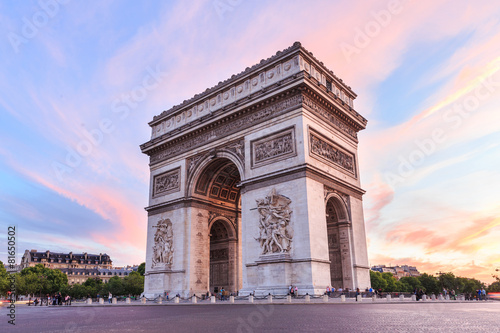 Leinwanddruck Bild Champs-Elysees at sunset in Paris