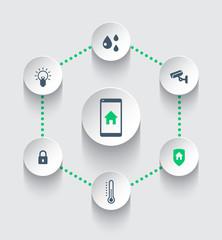 Smart house mobile app, vector illustration, eps10