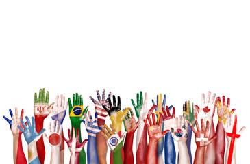 Hands Flag Symbol Diverse Ethnicity Unity Concept