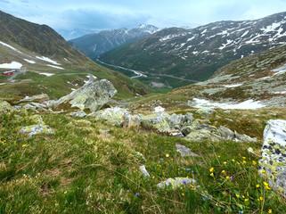 Great St. Bernard Pass (Switzerland) summer landscape.