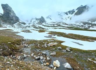 Great St. Bernard Pass (Switzerland) summer cloudy landscape.