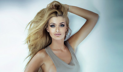 Portrait of blonde beauty woman.