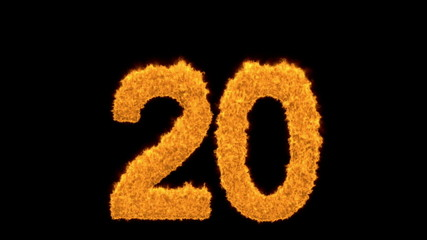 Numeral 20 in blazing numbers on black