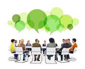 Multiethnic People Meeting Speech Bubbles Concept