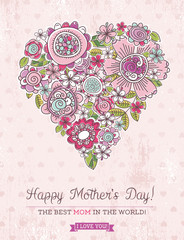 Pink Mother's Day card with big heart of spring flowers,  vector