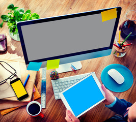 Businessman Digital Devices Using Working Concept