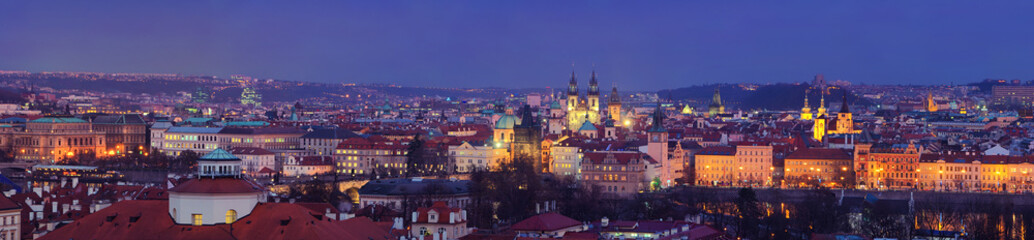 Panoramic aerial view of Prague