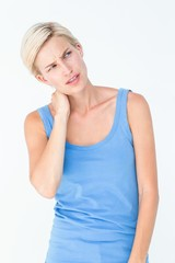 Blonde woman with neck pain