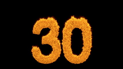 Golden number 30 with fiery flames