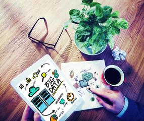 Businessman Big Data Digital Tablet Planning Working Concept