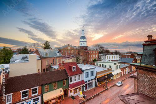 Spoed canvasdoek 2cm dik Verenigde Staten Annapolis, Maryland, USA Town Skyline