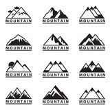 monochrome set of twelve mountain icons
