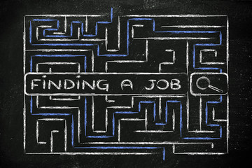 maze with search tags about how to find a job