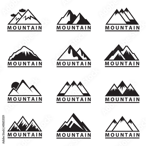monochrome set of twelve mountain icons - 81653139
