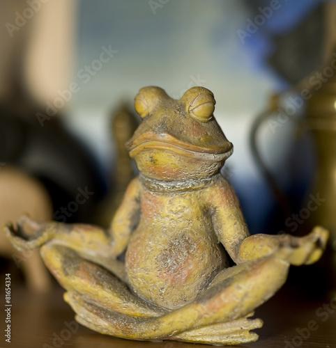 Fotobehang Kikker stone frog who meditates
