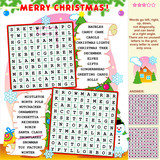 Fototapety Christmas illustrated word search puzzle