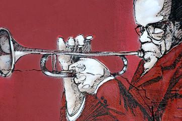 Trompetista en rojo