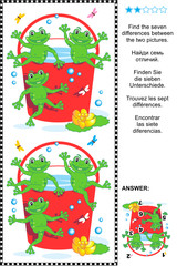 Find the differences visual puzzle - frogs and red bucket