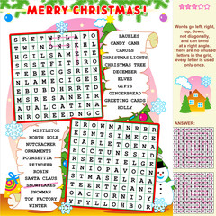 Christmas illustrated word search puzzle