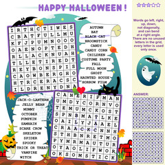 Halloween illustrated word search puzzle